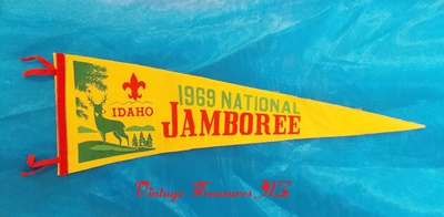 "Image for <b><span style='color:purple'> Boy Scouts 1969 National Jamboree Idaho Vintage Pennant Scouting Jambo Commemorative Souvenir Farragut State Park ""Building to Serve"" Theme </span></b><span style='color:purple'>    <b><span style='color:red'>***USPS PRIORITY MAIL SHIPPING INCLUDED – DOMESTIC ORDERS ONLY!***</span></b><span style='color:purple'>"