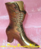 Image for Granny Boot/Antique-style Ankle Boot Brass Metal Figural Bud Vase/Small Planter/Fireplace Matches Holder, etc. Victorian Fashion Decorative Object d' Art Vintage ca pre-1970s  <b><span style='color:red'>*****PRIORITY MAIL SHIPPING INCLUDED – DOMESTIC ORDERS ONLY!*****</span></b><span style='color:purple'>