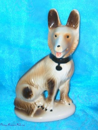 Image for Brazil Lusterware Dog (German Shepherd-like) Metallic Ceramic Pottery Figurine/Statue Vintage ca 1960s-1980s  <b><span style='color:red'>  *****PRIORITY MAIL SHIPPING INCLUDED – DOMESTIC ORDERS ONLY!*****  </span></b><span style='color:purple'>