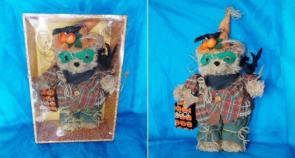 Image for <b><span style='color:purple'> Brinn's Brinton Halloween Scarecrow Barely A Bear Collectible Natty Bear Oatmeal Teddy Bear in Original Candy Corn Display/Storage Box Vintage 1995 </span></b><span style='color:purple'>  <b><span style='color:red'>***GROUND SHIPPING INCLUDED – DOMESTIC ORDERS ONLY!***</span></b><span style='color:purple'>~