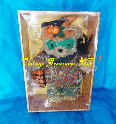 Image for Brinn's Brinton Halloween Scarecrow Barely A Bear Collectible Natty Bear Oatmeal Teddy Bear in Original Candy Corn Display/Storage Box Vintage 1995 <b><span style='color:red'>***USPS STANDARD POST SHIPPING INCLUDED – DOMESTIC ORDERS ONLY!***</span></b><span style='color:purple'>~