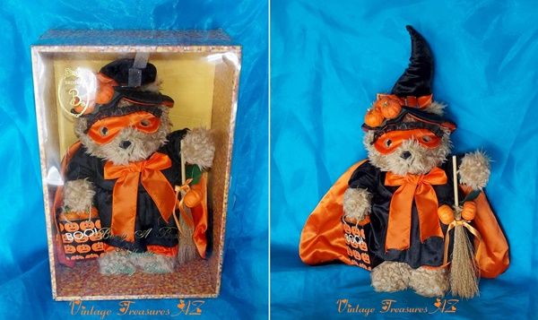 Image for <b><span style='color:purple'> Brinn's Brinton Halloween Witch Barely a Bear Collectible Natty Bear Oatmeal Teddy Bear in Original Candy Corn Display/Storage Box Vintage 1995 </span></b><span style='color:purple'>    <b><span style='color:red'>***GROUND SHIPPING INCLUDED – DOMESTIC ORDERS ONLY!***</span></b><span style='color:purple'>~