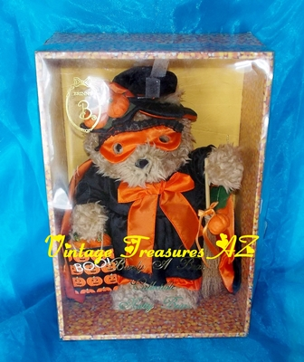 Image for Brinn's Brinton Halloween Witch Barely a Bear Collectible Natty Bear Oatmeal Teddy Bear in Original Candy Corn Display/Storage Box Vintage 1995  <b><span style='color:red'>***USPS STANDARD POST SHIPPING INCLUDED – DOMESTIC ORDERS ONLY!***</span></b><span style='color:purple'>