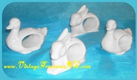 Image for Easter Bunnies & Ducks White Porcelain Animal-shaped Vintage Japan Figural Napkin Rings Set of 4  <b><span style='color:red'>*****PRIORITY MAIL SHIPPING INCLUDED – DOMESTIC ORDERS ONLY!*****</span></b><span style='color:purple'>