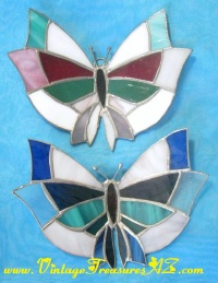 Image for Butterflies/Butterfly-shaped Figural Leaded Stained Glass Suncatchers Window-Wall Hangers Pair  <b><span style='color:red'>  *****PRIORITY MAIL SHIPPING INCLUDED – DOMESTIC ORDERS ONLY!*****  </span></b><span style='color:purple'>