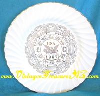 "Image for Calendar Plate ""U.S.A. 1967"" with Zodiac Symbols Sheffield Bone White Porcelain Shell Twist Border & Gold Accents Vintage  <b><span style='color:red'>*****PRIORITY MAIL SHIPPING INCLUDED – DOMESTIC ORDERS ONLY!*****</span></b><span style='color:purple'>"