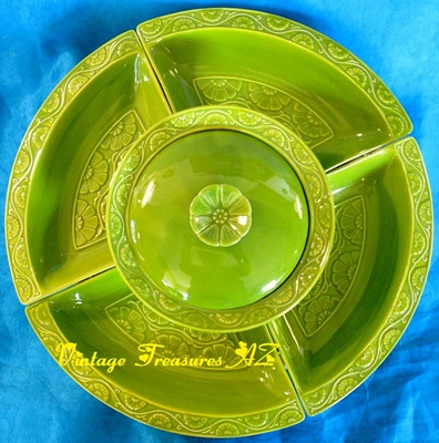 Image for <b><span style='color:purple'> Lazy Susan California Pottery 7-Piece Set Vintage 1960s-1970s Avocado Green Floral Motif Calif USA L83 Mid Century Chip & Dip Condiments Snacks Divided Serving Platter Hostess Service Set </span></b><span style='color:purple'>  <b><span style='color:red'>***USPS GROUND SHIPPING INCLUDED – DOMESTIC ORDERS ONLY!***</span></b><span style='color:purple'>