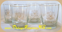 Image for Canadian Club Whisky/Whiskey Hiram Walker Gold Rims & Heraldry Logo Rocks Glasses Set of 4 Vintage ca 1980s/Older   <b><span style='color:red'>*****STANDARD POST SHIPPING INCLUDED – DOMESTIC ORDERS ONLY!*****</span></b><span style='color:purple'>