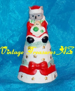 Image for Cat/Kitten Mrs Santa Claus Holding Rag Doll Dinner Bell Figural Bisque Christmas Holidays Table Decor Red Gift Bow Garlands Holly Berries Gold Stars   <b><span style='color:red'> USPS PRIORITY MAIL SHIPPING INCLUDED – DOMESTIC ORDERS ONLY!</span></b><span style='color:purple'>