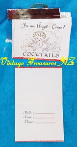 "Image for Cocktail Party Invitations Cupid Cherub Angel Design Eaton's French Fold Notes 10-pack Vintage ca 1950s UNUSED - ""Be an Angel - Come!  Cocktails""    <b><span style='color:red'>*****FIRST CLASS SHIPPING INCLUDED – DOMESTIC ORDERS ONLY!*****</span></b><span style='color:purple'>"