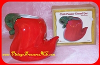 Image for Chili Pepper-shaped Red Ceramic Figural Kitchen Utensils Jar #CP20 by Ba ☼ Designs (New in Original-Box)   <b><span style='color:red'>*****PRIORITY MAIL SHIPPING INCLUDED – DOMESTIC ORDERS ONLY!*****</span></b><span style='color:purple'>