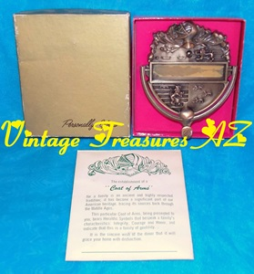 Image for Personally Yours Coat of Arms Door Knocker Vintage 1950s-1970s Metal (Bronze or Brass) Ancestry/Heraldry Symbols Original Box/Paper Insert   <b><span style='color:red'>USPS FIRST CLASS SHIPPING INCLUDED – DOMESTIC ORDERS ONLY!</span></b><span style='color:purple'>