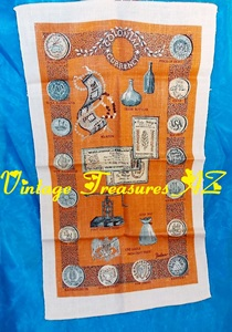 Image for Colonial Currency Americana-themed Vintage ca 1950s-1960s Mint Condition Bonheur Linen Tea Towel  <b><span style='color:red'>*****1st CLASS SHIPPING INCLUDED – DOMESTIC ORDERS ONLY!*****</span></b><span style='color:purple'>