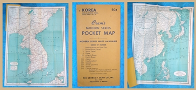 Image for Cram's Modern Series Pocket (folding) Map #4 of Korea and Adjoining China, Japan & U.S.S.R. Vintage ca pre-1959    <b><span style='color:red'>*****FIRST CLASS SHIPPING INCLUDED – DOMESTIC ORDERS ONLY!*****</span></b><span style='color:purple'>