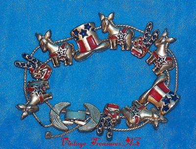 Image for <b><span style='color:purple'> Democrats/Democratic Political Party Patriotic Vintage 1960s-80s Sliding Charm Bracelet (Donkeys/Uncle Sam Hats/2-Fingers Peace Signs Stars & Stripes Goldtone with Red & Blue Enameled Charms) </span></b><span style='color:purple'>   <b><span style='color:red'> ***USPS FIRST CLASS SHIPPING INCLUDED – DOMESTIC ORDERS ONLY!***</span></b><span style='color:purple'>