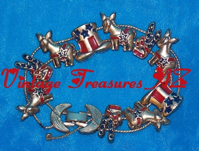 Image for Democrats Political Party Patriotic Sliding Charm Bracelet (Donkeys/Uncle Sam Hats/2-Fingers Peace Signs Stars & Stripes Goldtone Enamel Charms) Vintage 1960s-80s   <b><span style='color:red'> USPS FIRST CLASS SHIPPING INCLUDED – DOMESTIC ORDERS ONLY!</span></b><span style='color:purple'>