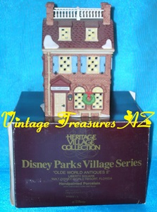 Image for Department 56 (Dept. 56) Disney Parks Village Series Olde World Antiques II 1994 Liberty Square Walt Disney World Resort Florida Hand-painted Porcelain Building #5351-1 & Original Box (RETIRED 1996)  <b><span style='color:red'> USPS PRIORITY MAIL SHIPPING INCLUDED – DOMESTIC ORDERS ONLY!</span></b><span style='color:purple'>