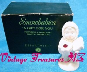 "Image for Department 56 Snowbabies ""A Gift for You"" January Garnet Swarovski Crystal Birthstone Bisque Figurine Limited Edition Avon Exclusive 2000 RETIRED <b><span style='color:red'>***USPS PRIORITY MAIL SHIPPING INCLUDED – DOMESTIC ORDERS ONLY!***</span></b><span style='color:purple'>"