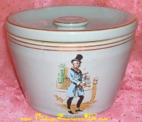 Image for Dickens Literary Characters Transferware-decorated Made in England Vintage Stoneware Butter Crock/Cheese Crock <b><span style='color:red'>  *****PRIORITY MAIL SHIPPING INCLUDED – DOMESTIC ORDERS ONLY!*****  </span></b><span style='color:purple'>