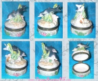 Image for Dolphins-Porpoises Swimming Playfully 3-Dimensional Porcelain Hinged Trinket Box<b><span style='color:red'>  *****PRIORITY MAIL SHIPPING INCLUDED – DOMESTIC ORDERS ONLY!*****  </span></b><span style='color:purple'>