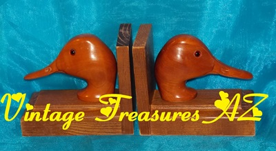 Image for Ducks Heads Busts Vintage 1940s-1970s Bookends Wooden Hand-Carved Set/Pair Mid-Century Modern Solid Wood Duck Decoy Folk Art Sculptures Lodge/Cabin/Home Decor   <b><span style='color:red'>USPS STANDARD POST SHIPPING INCLUDED – DOMESTIC ORDERS ONLY!</span></b><span style='color:purple'>