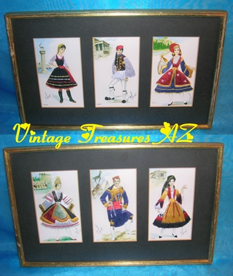 Image for Elsi Gumier Silk Embroidery Vintage ca 1950s-1960s International Men & Women in Traditional Greek Costumes Postcards Framed Set  <b><span style='color:red'>  *****PARCEL POST SHIPPING INCLUDED – DOMESTIC ORDERS ONLY!*****  </span></b><span style='color:purple'>