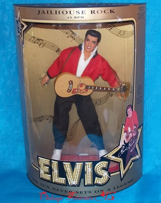 Image for <b><span style='color:purple'> Elvis Presley Hasbro Jailhouse Rock 45 RPM The Sun Never Sets on a Legend 1993 Commemorative Collection Series 12-inch Celebrity Doll Mint-in-Box + COA </span></b><span style='color:purple'>   <b><span style='color:red'>USPS PRIORITY MAIL SHIPPING INCLUDED – DOMESTIC ORDERS ONLY!</span></b><span style='color:purple'>