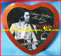 "Image for Elvis Presley Heart-shaped Valentine's Day Russell Stover Candies ""1972 Las Vegas Concert Performance"" Collector's Series Tin 1997  <b><span style='color:red'>  *****PRIORITY MAIL SHIPPING INCLUDED – DOMESTIC ORDERS ONLY!*****  </span></b><span style='color:purple'>"
