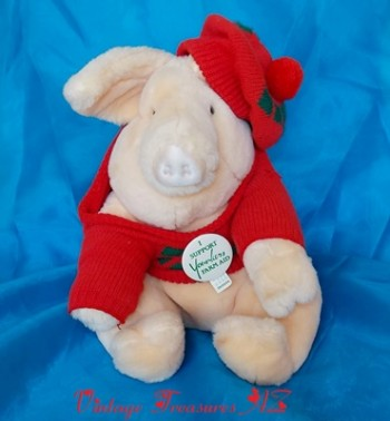 Image for <b><span style='color:purple'>  Farm Aid Mascot Yoinki Pig Vintage 1987 Stuffed Animal Plush Toy & Official Pinback Set Younkers Department Stores Francesca Hoerlein & Elaine Arnold </span></b><span style='color:purple'>   <b><span style='color:red'>***GROUND SHIPPING INCLUDED – DOMESTIC ORDERS ONLY!***</span></b><span style='color:purple'>