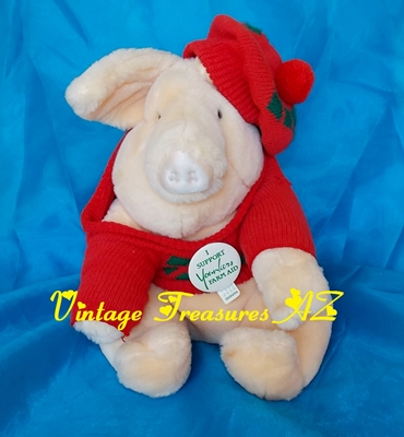 Image for Farm Aid Younkers Department Stores Yoinki Pig Francesca Hoerlein/Elaine Arnold Plush Stuffed Animal Mascot Toy/Pinback Set Vintage 1987    <b><span style='color:red'>***USPS STANDARD POST SHIPPING INCLUDED – DOMESTIC ORDERS ONLY!***</span></b><span style='color:purple'>