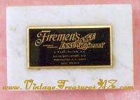 Image for Firemen's Insurance Company of Washington, D.C. Marble/Onyx Paperweight Desktop Accessory Advertising Premium Vintage ca 1957-1970s  <b><span style='color:red'>*****FIRST CLASS SHIPPING INCLUDED – DOMESTIC ORDERS ONLY!*****</span></b><span style='color:purple'>