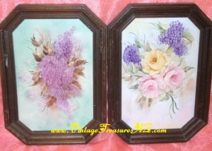 Image for Floral Ceramic Bisque Hand-Painted Vintage ca 1930s-1950s Framed Tiles Paintings Set <b><span style='color:red'>*****SHIPPING INCLUDED – DOMESTIC ORDERS ONLY!*****  </span></b><span style='color:purple'>