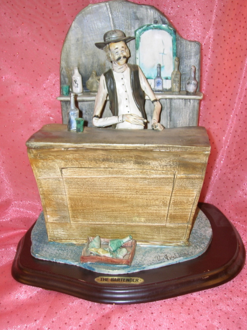 "Image for Fontana (V. Fontana) ""The Bartender"" Old West Saloon-Keeper Limited Edition #13/300 Sculpture + Display Stand + COA <b><span style='color:red'>*****SHIPPING INCLUDED – DOMESTIC ORDERS ONLY!*****  </span></b><span style='color:purple'>"