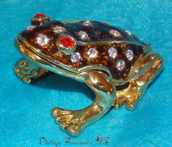 Image for <b><span style='color:purple'>  Frog Hinged Trinket Box Brown Enamel & Crystals Exterior Body/Yellow Enameled Interior </span></b><span style='color:purple'>   <b><span style='color:red'>*****1st CLASS SHIPPING INCLUDED – DOMESTIC ORDERS ONLY!*****</span></b><span style='color:purple'>