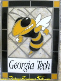 Image for Georgia Tech Yellow Jackets (Bumble Bee) Stained Glass Window Sun Catching Panel Hanging Wall Picture Display   <b><span style='color:red'>  *****PRIORITY MAIL SHIPPING INCLUDED – DOMESTIC ORDERS ONLY!*****  </span></b><span style='color:purple'>