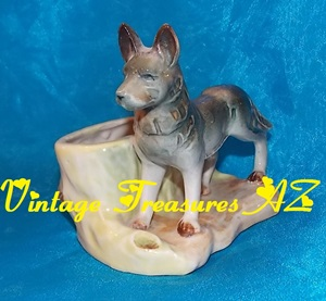 Image for Akita OR German Shepherd Hand-painted  Figural Animal Planter Vintage ca Pre-1970s Japan   <b><span style='color:red'>*****PRIORITY MAIL SHIPPING INCLUDED – DOMESTIC ORDERS ONLY!*****</span></b><span style='color:purple'>