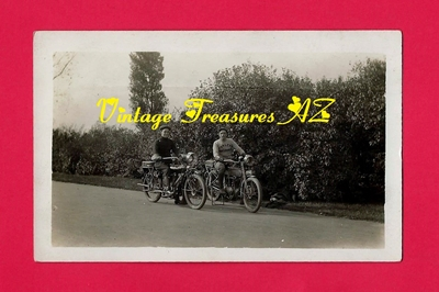 Image for Harley Davidson & Indian Motorcycles Old Antique Real Photo Postcard (RPPC) ca 1903-1920s - 2 Bikers Riding Road Hogs (POSTALLY UNUSED)    <b><span style='color:red'>***USPS FIRST CLASS SHIPPING INCLUDED – DOMESTIC ORDERS ONLY!***</span></b><span style='color:purple'>