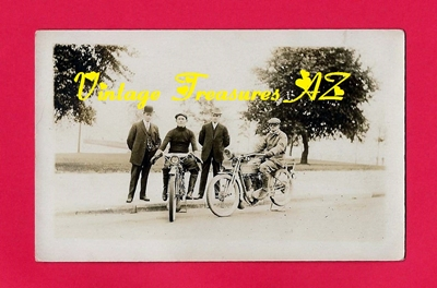 Image for Harley Davidson & Indian Motorcycles Old Antique Real Photo Postcard (RPPC) ca 1903-1920s - 2 Bikers Sitting on Bikes Posing with 2 Motorcycle Company Executives (POSTALLY UNUSED)    <b><span style='color:red'>***USPS FIRST CLASS SHIPPING INCLUDED – DOMESTIC ORDERS ONLY!***</span></b><span style='color:purple'>