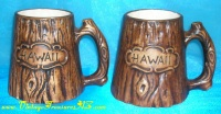 Image for HAWAII Faux Woodgrain-look Vintage ca 1950s-1970s Treasure Craft Ceramic Pottery Souvenir Tiki Decor Mugs Pair   <b><span style='color:red'>  *****PARCEL POST SHIPPING INCLUDED – DOMESTIC ORDERS ONLY!*****  </span></b><span style='color:purple'>