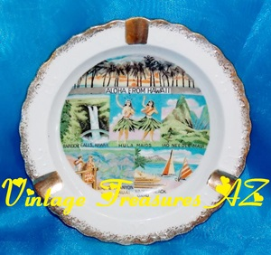 Image for <b><span style='color:purple'> Hawaiian Islands/Landmarks Aloha from Hawaii Ashtray Vintage 1950s-60s Travel Souvenir  Novco Imports Made in Japan Honolulu Kauai Maui Oahu </span></b><span style='color:purple'>     <b><span style='color:red'> USPS PRIORITY MAIL SHIPPING INCLUDED – DOMESTIC ORDERS ONLY!</span></b><span style='color:purple'>