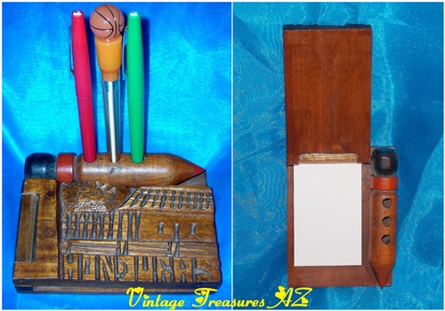Image for Honduras Souvenir Pencil-shaped Wooden Pen, Pencil & Notepad Holder Hand-carved Vintage ca 1960s-1970s International Travel Souvenir Keepsake  <b><span style='color:red'>***USPS FIRST CLASS SHIPPING INCLUDED – DOMESTIC ORDERS ONLY!***</span></b><span style='color:purple'>