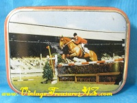 Image for Horse Show Fence-Jumping Equestrian-themed Vintage ca 1950s-1960s Collectible Decorative Sharps Toffees Tin Container/Box <b><span style='color:red'>  *****PRIORITY MAIL SHIPPING INCLUDED – DOMESTIC ORDERS ONLY!*****  </span></b><span style='color:purple'>
