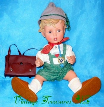 Image for <b><span style='color:purple'>   Peterle Hummel Goebel Swiss Schoolboy RARE ORIGINAL Vintage ca 1957-1960 Rubber Vinyl Doll with Early Stylized Incised Circle Bee inside the V Hang Tag </span></b><span style='color:purple'>   <b><span style='color:red'>***USPS PRIORITY MAIL SHIPPING INCLUDED – DOMESTIC ORDERS ONLY!***</span></b><span style='color:purple'>