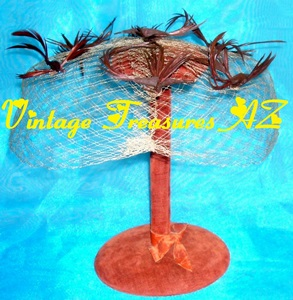 Image for Hummingbirds/Birds Mesh Netting Veil Vintage Whimsy Hat Ladies Pillbox/Birdcage Fascinator Head Covering ca 1940s-1960s Mad Men/Jackie-O  <b><span style='color:red'>USPS PRIORITY MAIL SHIPPING INCLUDED – DOMESTIC ORDERS ONLY!</span></b><span style='color:purple'>
