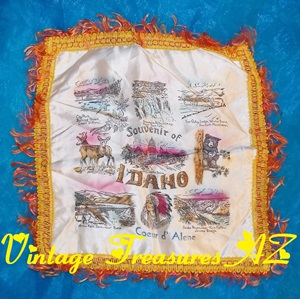 Image for Idaho State Collectible Souvenir Fringed Pillow Sham/Pillowcase Scenic Landmarks & Symbols Vintage ca 1940s-1960s   <b><span style='color:red'>*****FIRST CLASS SHIPPING INCLUDED – DOMESTIC ORDERS ONLY!*****</span></b><span style='color:purple'>