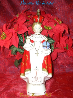 Image for <b><span style='color:purple'>  Infant of Prague Artmark Japan Figural Christmas Planter Statue Vintage ca 1960s</span></b><span style='color:purple'>  <b><span style='color:red'>*****PRIORITY MAIL SHIPPING INCLUDED – DOMESTIC ORDERS ONLY!*****</span></b><span style='color:purple'>