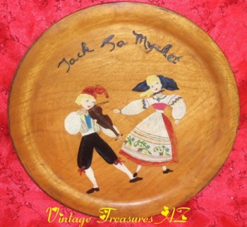 Image for <b><span style='color:purple'> Jack & Jill Fiddler Boy & Dancing Girl Handpainted Wooden Serving Tray/Platter Jack Ya Mycket/Jack Ga Mycket Norwegian/Swedish/Scandinavian Saying Vintage 1920s-1950s </span></b><span style='color:purple'>     <b><span style='color:red'> USPS PRIORITY MAIL SHIPPING INCLUDED – DOMESTIC ORDERS ONLY!</span></b><span style='color:purple'>