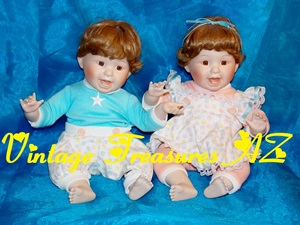 "Image for Jennifer Schmidt Danbury Mint ""Rachel & Ryan"" Twins Porcelain Artist-signed Character Dolls Set <b><span style='color:red'>  *****PARCEL POST SHIPPING INCLUDED – DOMESTIC ORDERS ONLY!*****  </span></b><span style='color:purple'>"