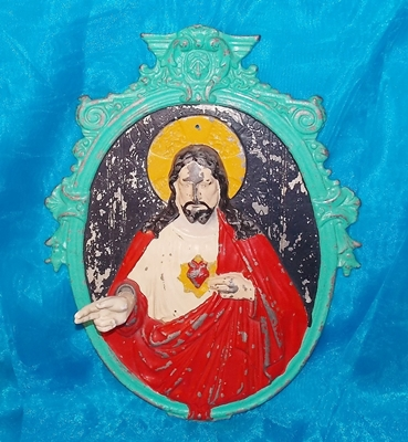 Image for <b><span style='color:purple'> Jesus Christ Sacred Heart Pointing Hand in Peace Sign Benediction Pose Vintage ca 1920s-1950s 3-dimensional Religious Christianity Wall Plaque Display </span></b><span style='color:purple'>  <b><span style='color:red'>***USPS PRIORITY MAIL SHIPPING INCLUDED – DOMESTIC ORDERS ONLY!***</span></b><span style='color:purple'>