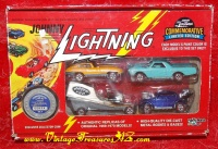 Image for Johnny Lightning Playing Mantis Commemorative Limited Edition Boxed Four Die-cast/Diecast Cars Set A 1969-1970 Series Replicas PLUS Exclusive Collector Coin (MINT/NEVER OPENED)  <b><span style='color:red'>*****PRIORITY MAIL SHIPPING INCLUDED – DOMESTIC ORDERS ONLY!*****</span></b><span style='color:purple'>